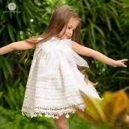 Βαπτιστικό Λευκό Φόρεμα με Φουντίτσες    Radu RG107