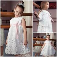 Βαπτιστικό Φόρεμα με Λευκή Δαντέλα | Radu RG110