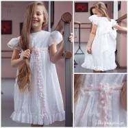 Βαπτιστικό Φόρεμα Λευκό Κεντημένο με Ζώνη ή Φιόγκο | Radu RG203