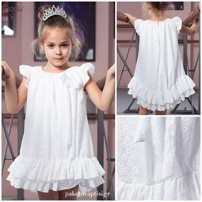 Βαπτιστικό Φόρεμα Λευκό Κεντημένο Α γραμμή   Radu RG204