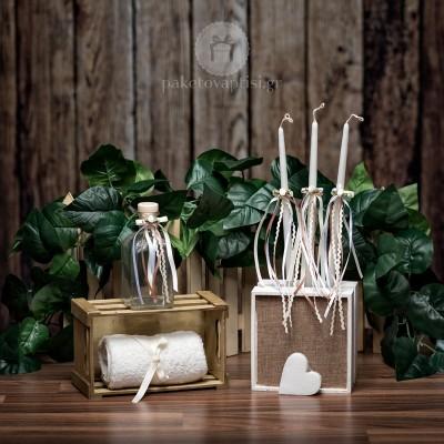 Σετ λαδιού Εκκλησίας Εκρού Λευκά Μπεζ Κορδελένια Φιογκάκια με Σατέν Λουλουδάκια