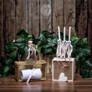 Σετ λαδιού Εκκλησίας Πλεκτά Δαντελένια Φιογκάκια με Σατέν Μπεζ Κορδελίτσες και Λουλουδάκι