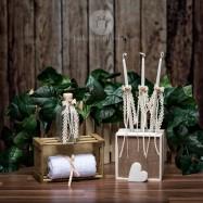 Σετ λαδιού Εκκλησίας Πλεκτά Δαντελένια Εκρού Φιογκάκια με Σατέν Λουλουδάκια