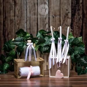 Σετ λαδιού Εκκλησίας Λευκά και Ροζ Πουά Σατέν Κορδελένια Φιογκάκια
