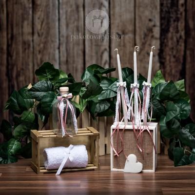 Σετ λαδιού Εκκλησίας Λευκά Πλεκτά Δαντελένια Φιογκάκια με Σατέν Κορδελίτσες Σάπιο Μήλο και Λουλουδάκια