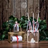 Σετ λαδιού Εκκλησίας Λευκά Φιογκάκια και Σατέν Μπλε Κόκκινες Κορδελίτσες με Μεταλλικές Άγκυρες