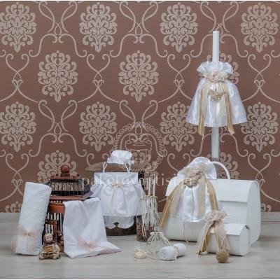 Σετ Βάπτισης Λευκό Σαντούκ με Καφέ Ξύλινο Πουλάκι