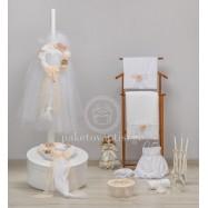 Σετ Βάπτισης Λευκό Στεφανάκι με Χειροποίητα Λουλούδια